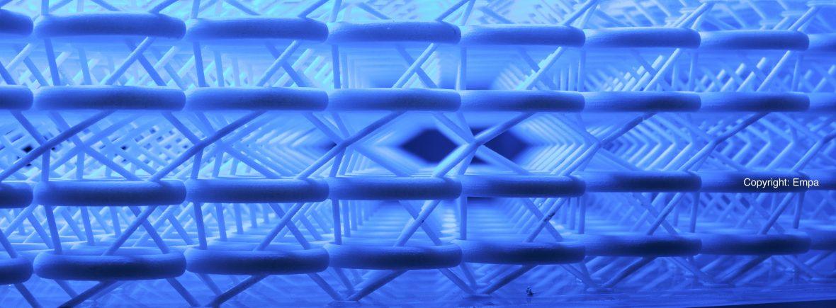 3D-phononischer Kristall, der Vibrationen in Ausgangsrichtung reflektiert oder schluckt. Das Modell wurde im 3D-Drucker produziert. Andrea Bergamini, Tommaso Delpero